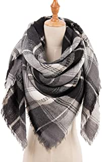 Large Soft Plaid Scarf Women Winter Knit Blanket Scarf Cashmere Feel Shawl and Wraps