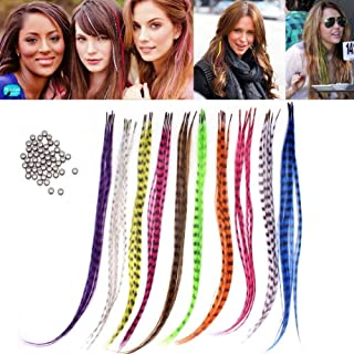 Professional Salon Feather Hair Extension Multi Color Mixed 50 Micro Beads & Plier hook Kits-24 Pcs