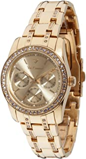 Yves Camani Women's Watch with Crystal Accented Stainless Steel Band and Day/Date Display