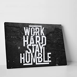 CanvasChamp Wall Art, Inspirational & Motivational Canvas Print Decor for Schools, Libraries, Offices, Gyms, and More, with Phrase (Work Hard Stay Humble, 12