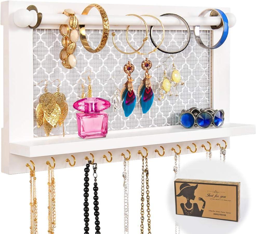 Jewelry hanger shelf Wooden Jewelry Hanger earring hanger Necklace hanger necklace whitewash free earrings dark wood necklace hanger