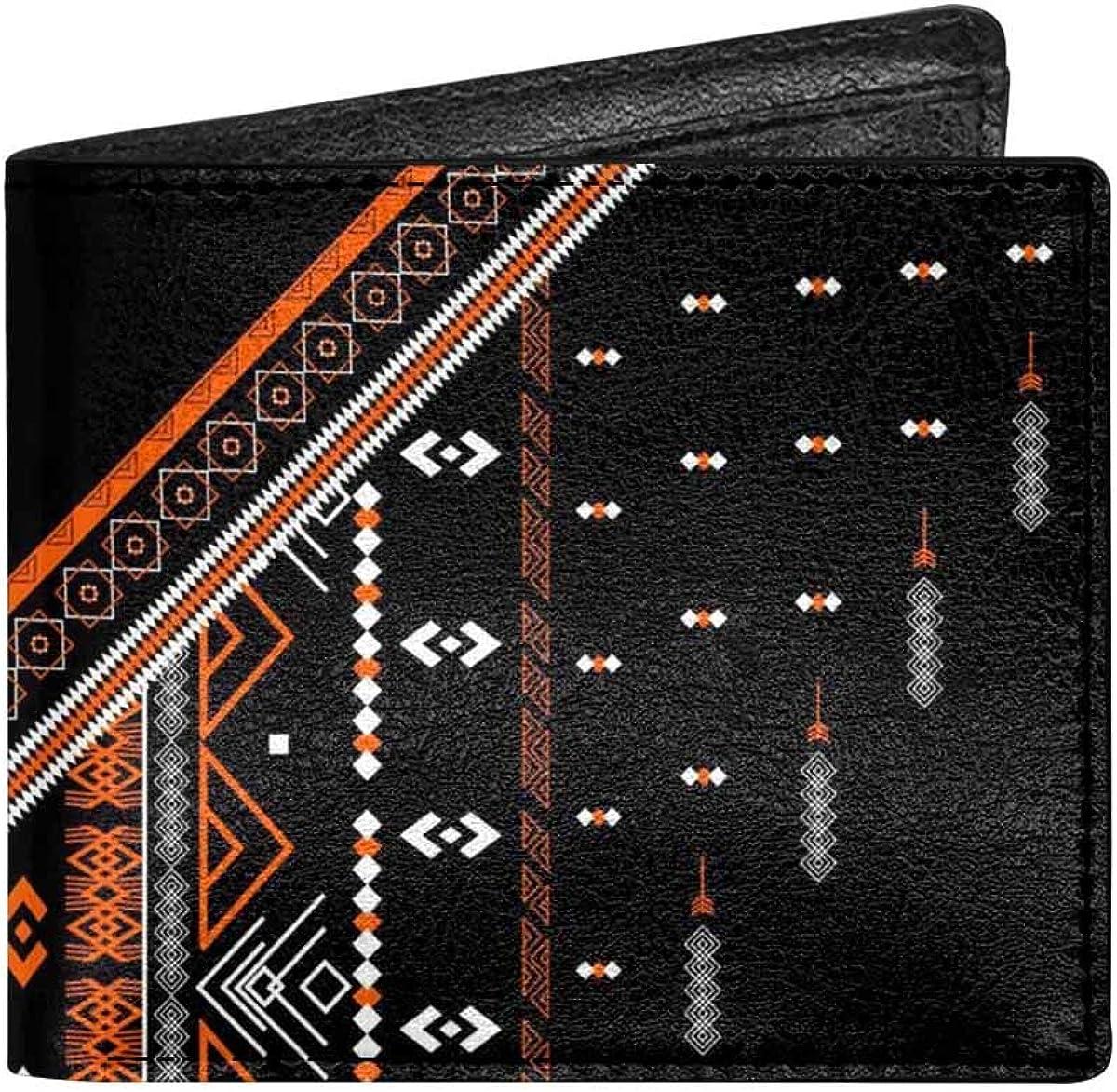 INTERESTPRINT Aztec Geometric Art Print Bifold Wallet Unisex Wallet Card Wallet Coin Purse