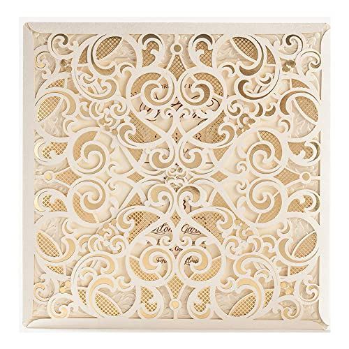 50 WISHMADE 6 X Inch Ivory Square Laser Cut Foil Hollow Wedding Invites Printable