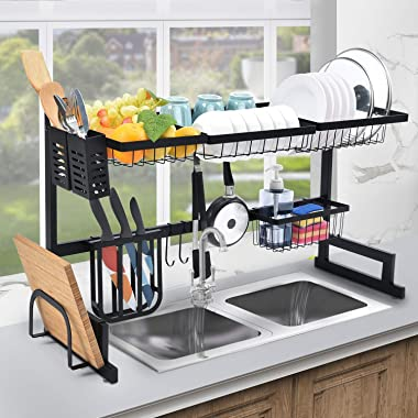 Kingrack Over Sink Dish Drying Rack Dish Drainer,2-Tier Large Capacity Dish Rack, Sink Organize Stand Shelf with Utensil Hold