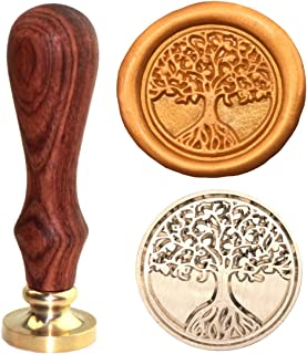 Tree Of Life Wax Seal Stamp, Botokon Vintage Retro Brass Head Wooden Handle Removable Sealing Stamp, Ideal for Embellishment of Envelopes, Invitations, Wine packages, Greeting Cards, etc(Tree of life)