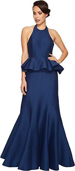 Halston Heritage - Sleeveless Round Neck Flared Gown Peplum