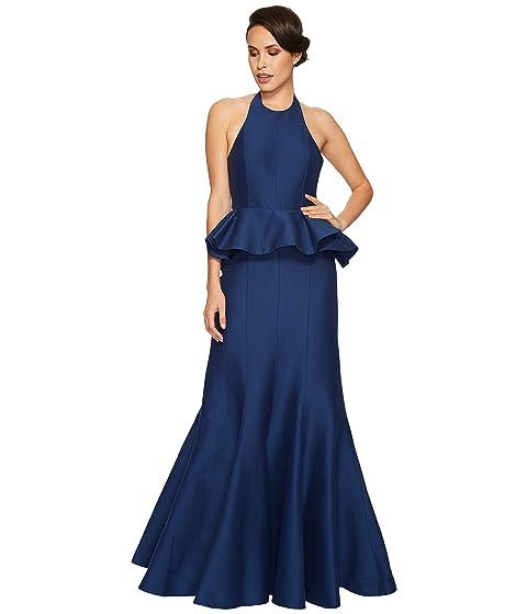 Halston Heritage Sleeveless Round Neck Flared Gown Peplum at 6pm