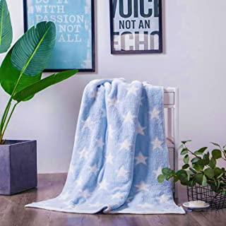 Little-Grape-Land Ultra Soft Chenille Knit Blanket for Baby Plush Baby Crib Blankets for Toddler for Bed, Crib and Stroller Uses, Blue/White (Sky Blue)