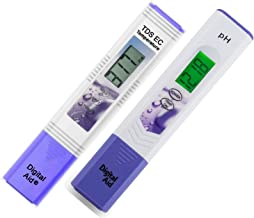 Professional Quality Water Test Meter. Range: 0-9990 ppm. Plus a Professional pH Meter with Large Backlit LCD Screen. Range 0.00 to 14.0 pH. 3 Free pH Buffer Solution Powders Included.