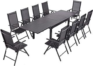 Laxllent - Mesa de jardín extensible (135/270 cm, aluminio + 10 sillas de textileno para terraza y jardín, color negro