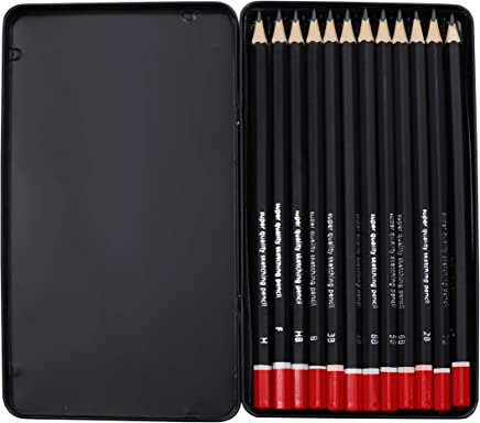 Kurtzy Artist Pencil for Sketching Drawing Art Pack of 12 with Metal Case B 2B 3B 4B 5B 6B 7B 8B HB H 2H F