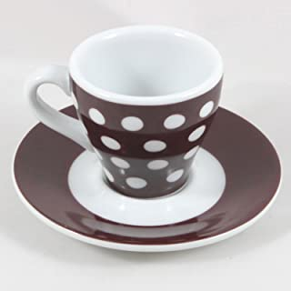 Bodum Brown with White Polka Dots Espresso Cup & Saucer, 2 oz.