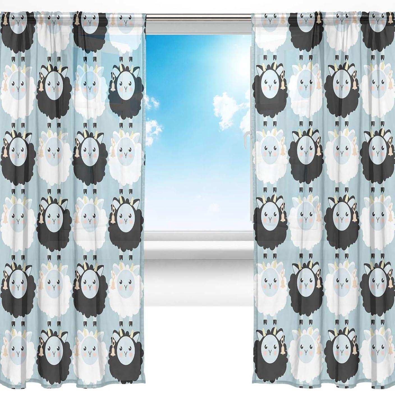 個人的にペア引き付けるSoreSore(ソレソレ)レースカーテンミラーレースカーテン UVカット 遮光 遮熱 断熱 カーテン ドアカーテン ミラーカーテン 綿羊 ブルー 羊柄 可愛い かわいい 目隠し おしゃれ かわいい 幅140CMx200CM 2枚組