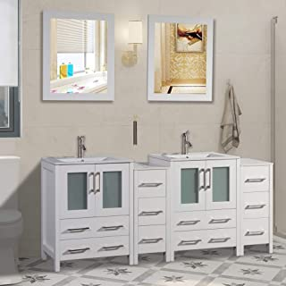 72 inch Double Sink Bathroom Vanity Combo Set 2 Side Cabinets 2 Shelves Ceramic Top Bathroom Cabinet With Two Free Mirror (White)