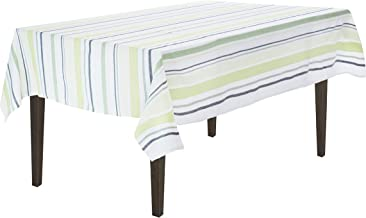 LinenTablecloth Rectangular Barcode Striped Tablecloth 70 Inch