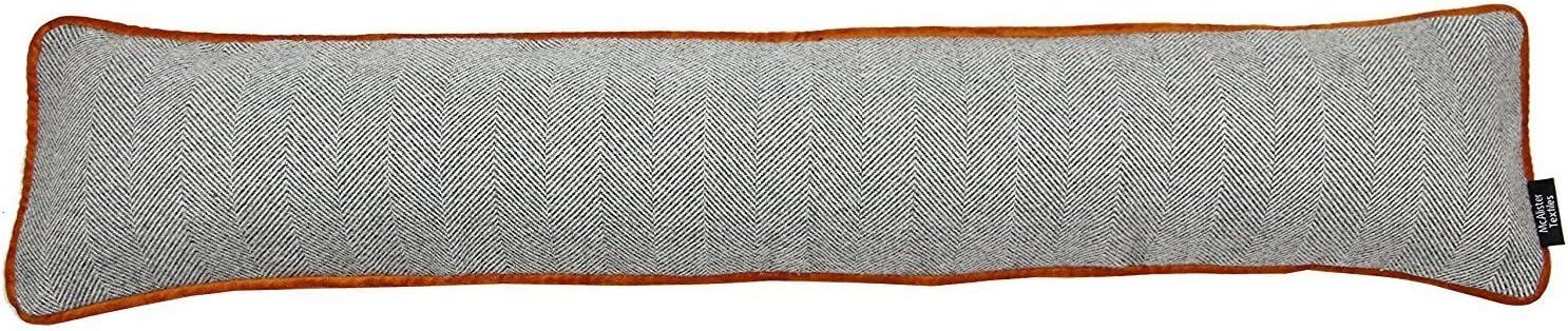 McAlister Textiles Herringbone Boutique Boudin de Porte Bas de Porte Fenetre Tissu Effet Laine Tiss/ée Semi Uni Bordure Velours Gris Couleur Bleu Ciel 18x90cm Long