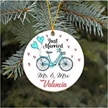 First Christmas as Mr & Mrs Valencia Our First Christmas Ornament Just Married Wedding Christmas Ornament 2019 Rustic 1st Year Married Newlyweds Present for Newlywed 3