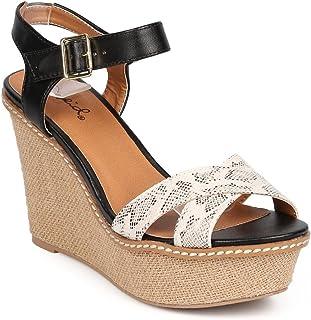 594526725e Women Snakeskin Peep Toe Criss Cross Espadrille Wedge Sandal EA34 - Black