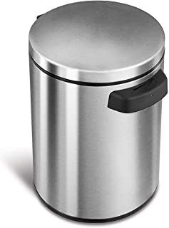 NINESTARS DZT-5-1S Automatic Touchless Infrared Motion Sensor Trash Can, 1.2 Gal 5L, Stainless Steel Base (Round, Stainless Steel Lid)