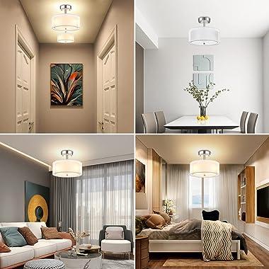 3-Light Semi Flush Mount Ceiling Light Fixtures, Modern Close to Ceiling Light Fixtures Double Fabric Shades, Drum Lights Cei
