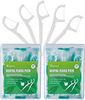 Dental Floss Picks, 2 Travel Floss Cases,100 Counts,Each Individually Wrapped, Dental Flossers,Floss Sticks,Tooth Floss,Dental Sticks,Teeth Flossers Picks, Gift 1 Mini Toothpick Box.