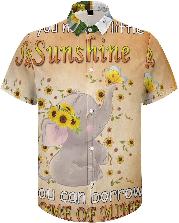 Mens Button Down Shirt Elephant Sunflower Farmhouse Casual Summer Beach Shirts Tops