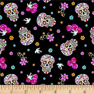Day Of The Dead W/Glitter Black/Multi Fabric by the Yard