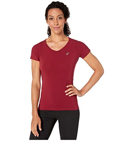 ASICS Short Sleeve V-Neck Top (Chili Flake) Women