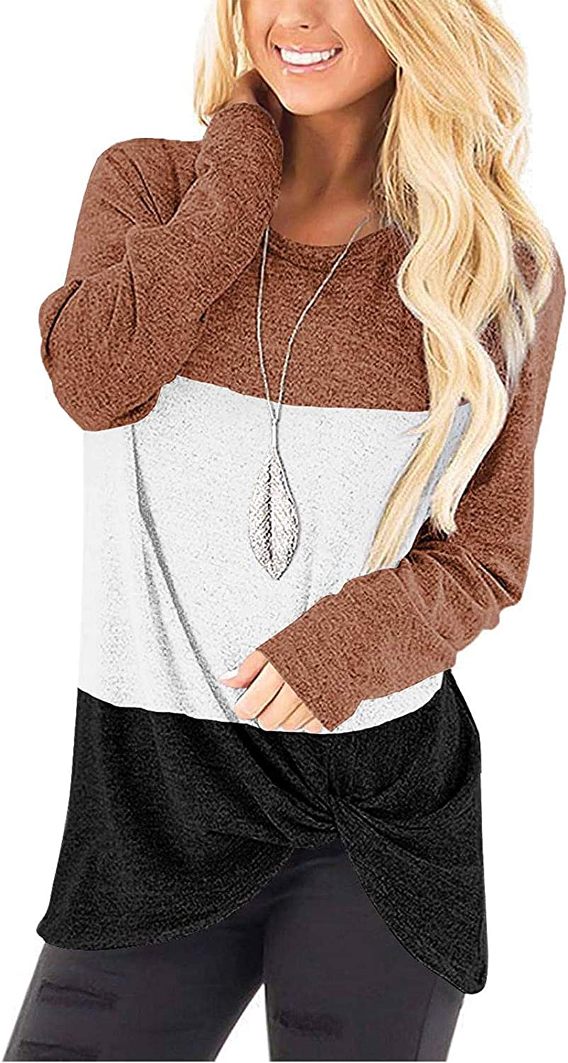 UOCUFY Women Long Sleeve Tops, Womens Tunics Shirts Tops Long Sleeve Casual Crewneck Loose Soft Pullover Tops