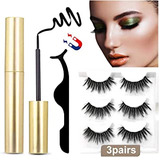 Magnetic Eyeliner and Lashes Magnetic Eyelashes Kit False Lashes with Applicator (3 Pairs)