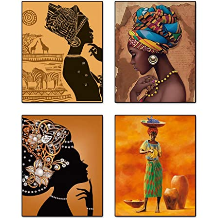 """Retro Style Tribal African American Wall Art Painting Set of 4 (8""""X10"""" Canvas Picture) Black Woman Ethnic Ancient Theme Diamond Girl Room Poster Art Painting Bedroom or Bathroom Decor Unframed"""
