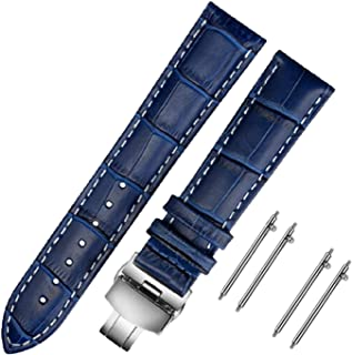 Moran Genuine Leather Watch Bands Quick Release Polished Deployment Buckle,18mm-24mm Black Brown Calf Leather Replacement ...