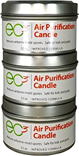 EC3 Air Purification Candles, 3-Pack, Reduce Mold Counts and Mycotoxin Levels in Indoor Air, Natural, No Added Fragrance, Botanical Ingredients in Soy Wax