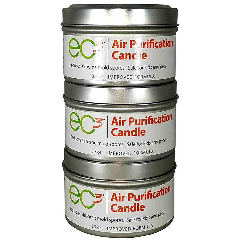 EC3 Air Purification Candles-3 Pack-Decrease Levels of Mold Spores and Mycotoxins, All Natural, No Fragrance, Botanical Ingredients in Soy Wax