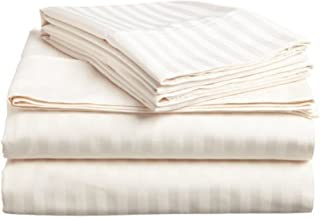 5 PCs Split Bed Sheet Set - 100% Egyptian Cotton - 600 Thread Count - 16 Inch Deep Pocket of Fitted Sheet - Ivory Stripe, Split Queen Size