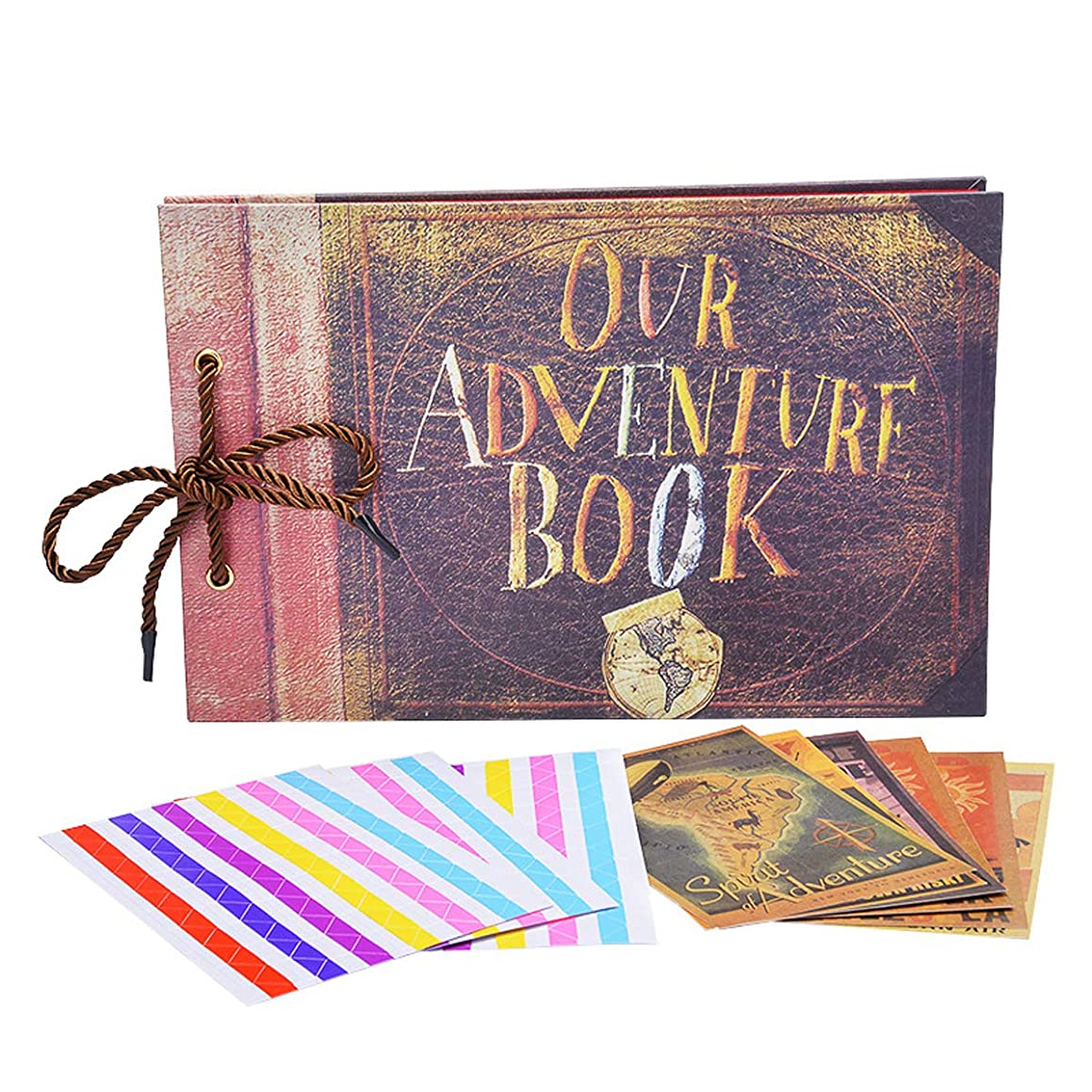 TECHSON DIY Photo Album, Our Adventure Book Scrapbook, Vintage Retro Memory Wedding Anniversary Album (Includes 5 x Postcards and 5 x Photo Corners)