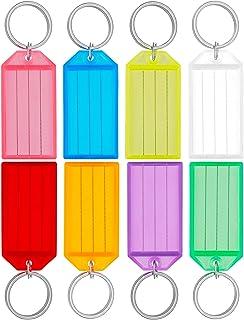 Uniclife 40 Stuks Stevige Plastic Sleutelhangers met Label Venster met Splitring, Diverse Kleuren