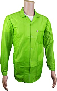 Static Care ESD Jacket, Lapel Collar and Snap Adjustment Sleeve, Hi-Visibility Green, XS