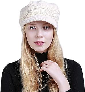 URIBAKE Women's Fashion Peak Crochet Caps Winter Wool Knit Manual Caps Hat Solid Color Warm