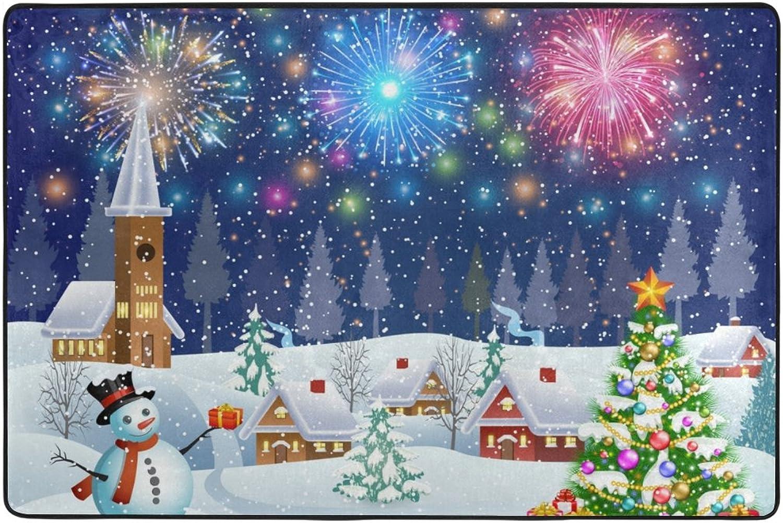Alaza De la Nieve del árbol y Lugar de Fuegos Artificiales Alfombra 4 x 6 pies, Sala Dormitorio Cocina Decorativo