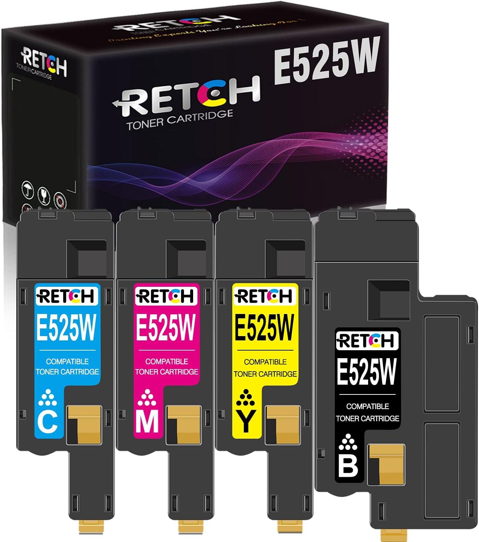 RETCH Compatible Toner Cartridges E525w Tray Replacement for Dell E525w E525 525w 525 for E525w Wireless Color Printer for 593-BBJX 593-BBJU 593-BBJV 593-BBJW (Black, Cyan, Magenta, Yellow)