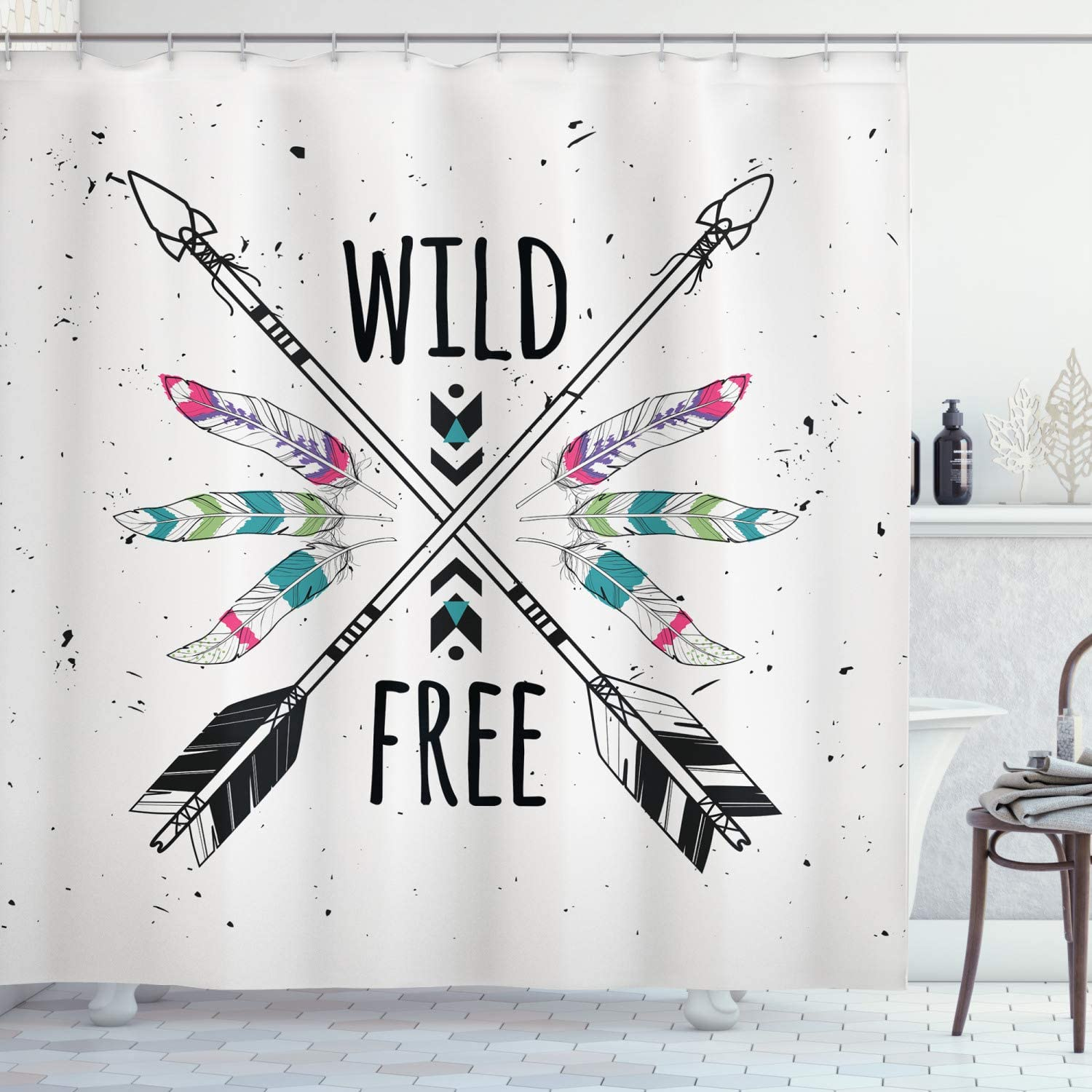 Ambesonne Tribal Shower Max 83% OFF Curtain Crossed Free Wild Milwaukee Mall and Mo Arrows