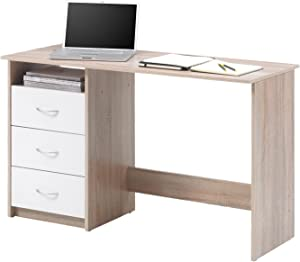 """Schreibtisch Computertisch Arbeitstisch Bürotisch Laptoptisch Büromöbel """"Mack I"""" Sonoma-Eiche/Weiß"""