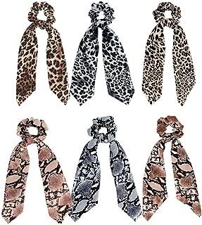 6 Pcs Leopard Print Scrunchies for Women Big Hair Scarf Scruncheis Elastic Hair Ties, Polka Dot Snake Skin, Ribbon Chiffon Strong Elastic Hair Bands Rope Scrunchy Ponytail Holder