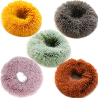 Women Girl kid's Fashion 5 Pcs Sweet Rabbit Faux Fur Fluffy Ball Pom Pom Scrunchies Elastic Ponytail Holder Hair Rope Hair Accessories