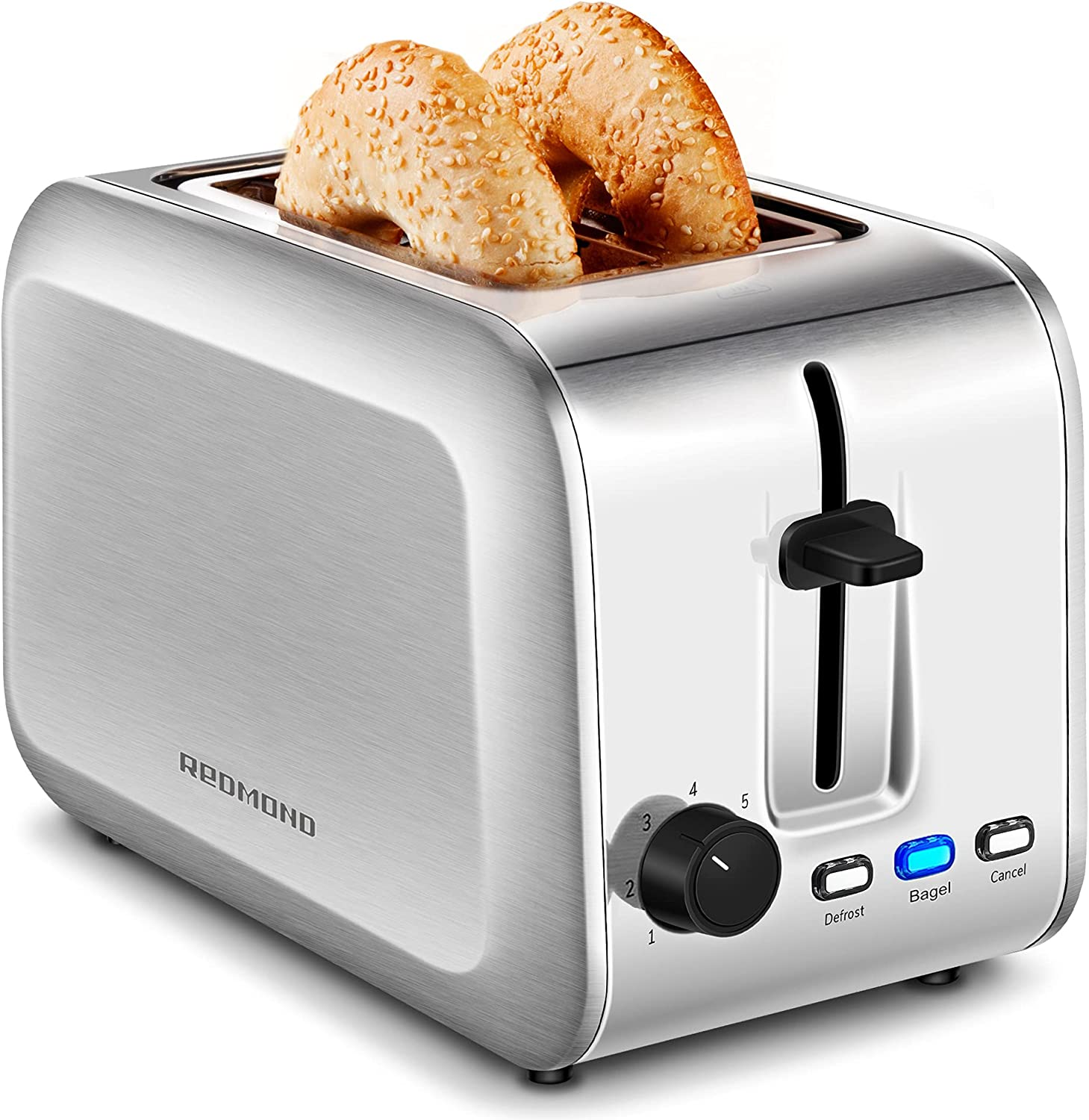 REDMOND Toaster 2 Slice, Extra Wide Slot Stainless Steel Toaster with Bagel/ Defrost/ Cancel Function, 7 Browning Settings and Removable Crumb Tray, ST213