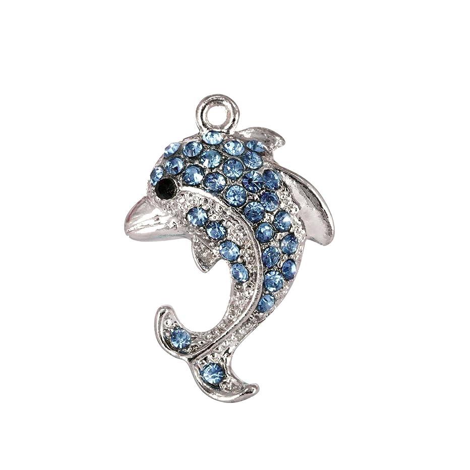 Creative DIY Blue Crystal Dolphin Charms Pendants Wholesale (Set of 3) MH613