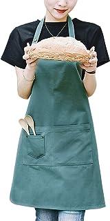 "HouSea Cotton Aprons for Women Men Teenager Senior Junior with Pockets Art Artist Waterproof Restaurant Kitchen Cooking Workshop Dishwasher Bibs Sage Green 33""X27"""