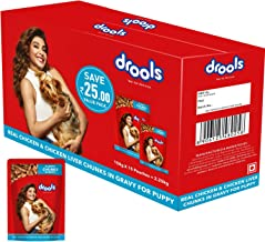 Drools Puppy Wet Dog Food, Real Chicken and Chicken Liver Chunks in Gravy, 15 Pouches (15 x 150g)