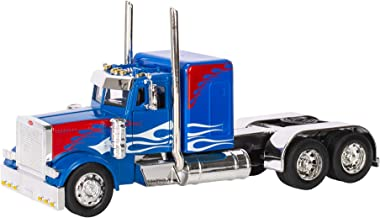 Peterbilt 389/Kenworth W900 Semi Truck Die Cast Toy - 1:32 Scale (Blue with Red and White Flames)